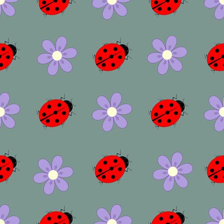 てんとう虫と花のシームレスなパターン。グラフィックの背景・ ファッション ・ デザイン。モダンなスタイリッシュな抽象的なテクスチャです。印刷、繊維、包装、壁紙、ウェブサイト等のカラフルなテンプレートです。ベクトル図