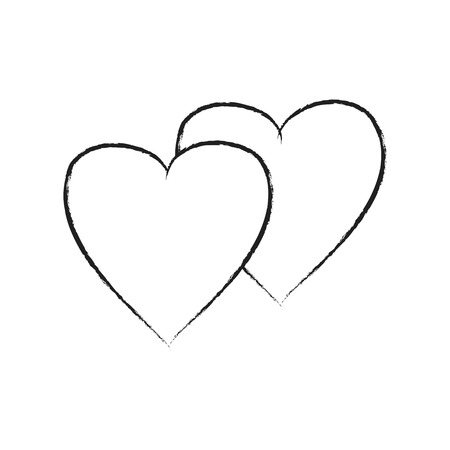 Heart two isolated. Black sign on white background. Romantic silhouette symbol linked, join, love, passion and wedding. Monochrome mark of valentine day. Design element. Vector illustration