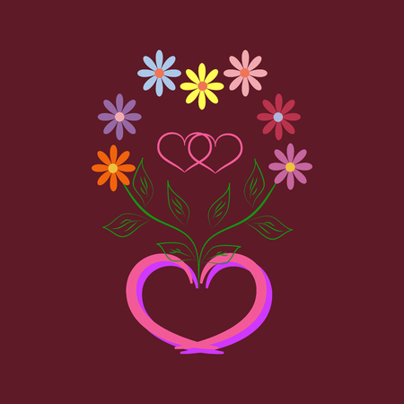 Womens Day Card Romantic Flower Around Two Heart In Frame Heart