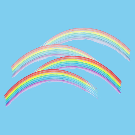 Rainbow on sky sign. Illustration colorful spectrum arc. Cute colorful symbol spring, summer, rain.Color bow mark clean nature. Template for t shirt, card, poster. Design element. Vector illustration Illustration