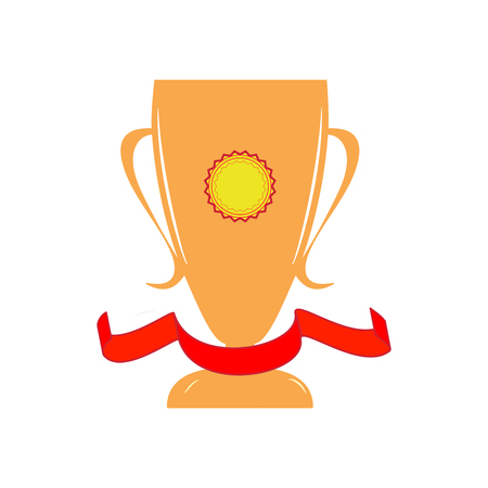 Cup and ribbon reward. Modern symbol of victory and award achievement sport. Insignia ceremony awarding of winner tournament. Colorful template for badge, tag etc. Design element. Vector illustration Illustration