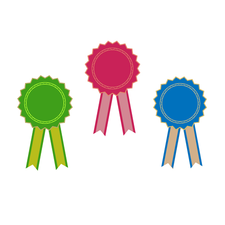 Ribbon award. Emblem modern symbol of award. Symbol reward winner. Accessory victory ceremony,success sport. Beautiful sign ceremony. Colorful template for badge. Design element. Vector illustration