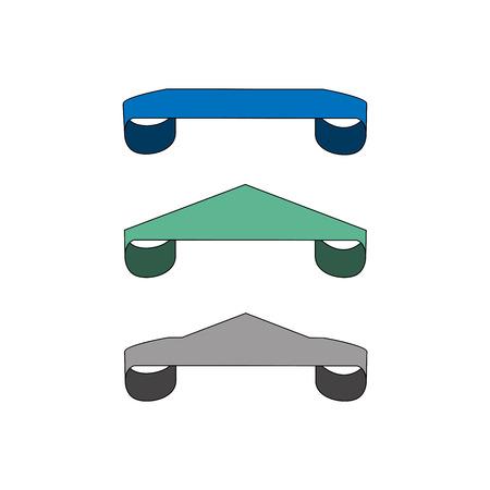 Ribbon label for food. Set blank sticker labeling. Elegant form of the logo for sale. Emblem modern symbol of quality. Colorful template for badge, tag , wrapping. Design element. Vector illustration