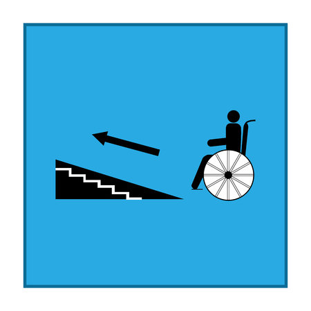 Disabled ramp up isolated sign. Mark disability. Icon a place open passage, rampant up. Symbol paralyzed and human on wheelchair. Safety person handicapped. Design element. Vector illustration
