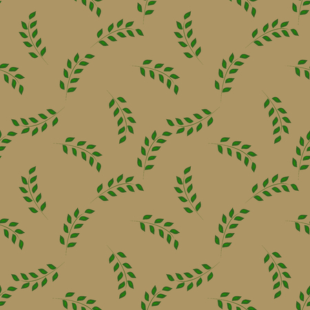 sprig: Green twig on light pattern, colorful template for prints, textiles, wrapping, wallpaper and website.