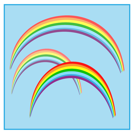 Rainbow on sky sign, illustration colorful spectrum arc, template for t shirt, card, poster.
