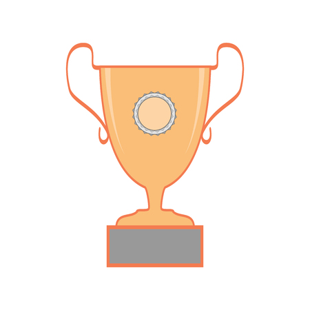 Cup reward isolated. Modern symbol of victory and award achievement sport. Insignia ceremony awarding of winner tournament. Colorful template for badge, tag etc. Design element. Vector illustration