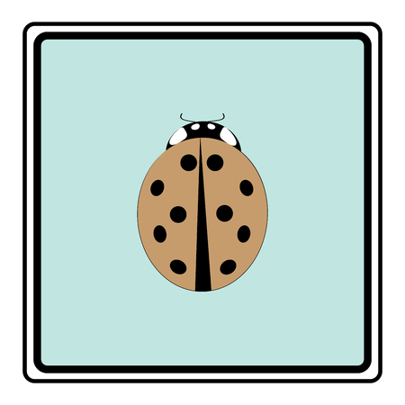 Ladybird isolated. Illustration ladybug in black frame. Cute colorful sign red insect symbol spring, summer, garden. Template for t shirt, apparel, card, poster. Design element. Vector illustration