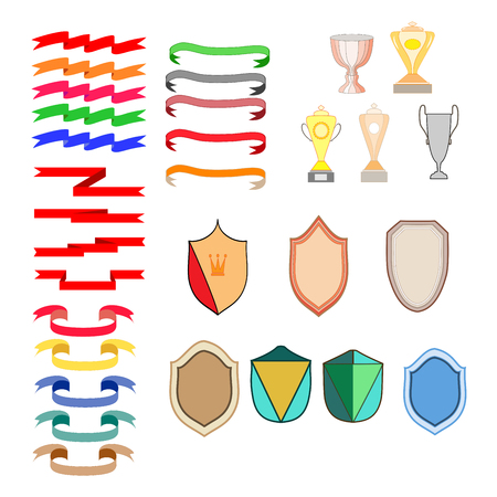 Shield shape, cup, ribbon set. Graphic antique heraldic badge. Colorful silhouette sign isolated on white background. Symbol of protection, arms, honor security. Design element. Vector illustration