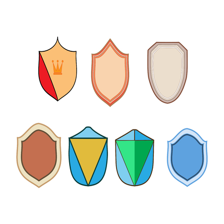 Shield shape icon set. Graphic antique heraldic badge. Colorful silhouette sign isolated on white background. Symbol of protection, arms, honor security. Design element. Vector illustration