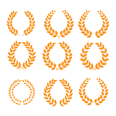 Wreath reward isolated set. Modern symbol of victory and award achievement champion. Leaf ceremony awarding of winner tournament. Colorful template for badge, tag. Design element. Vector illustration