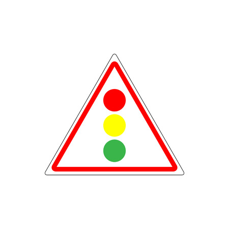 Stoplight sign. Traffic lights in red triangle on white background.