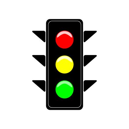 Stoplight sign. Icon traffic light on white background. Symbol regulate movement safety and warning. Electricity semaphore regulate transportation on crossroads urban road. Flat vector illustration.