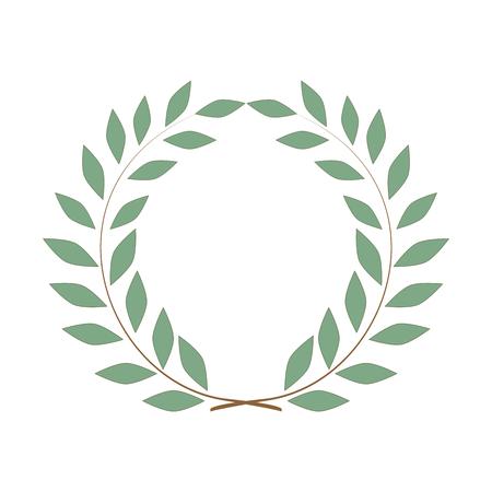 Laurel wreath olive reward. Modern symbol of victory and award achievement champion.
