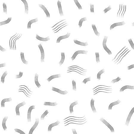 Wavy strip black seamless pattern. Fashion graphic background design. Modern stylish abstract texture. Monochrome template for prints, textiles, wrapping, wallpaper, website etc. Vector illustration