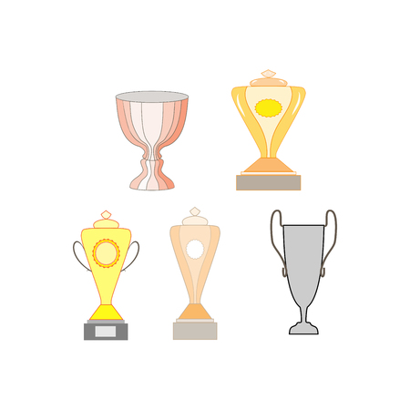 Cup reward set isolated. Modern symbol of victory and award achievement sport. Insignia ceremony awarding of winner tournament. Colorful template for badge, tag. Design element. Vector illustration