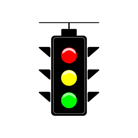 stop and go light: Stoplight sign. Icon traffic light on white background. Symbol regulate movement safety and warning. Electricity semaphore regulate transportation on crossroads urban road. Flat vector illustration.