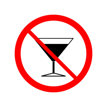 banned: No alcohol drinks icon. Silhouette black wineglass in red circle. Sign on white background.