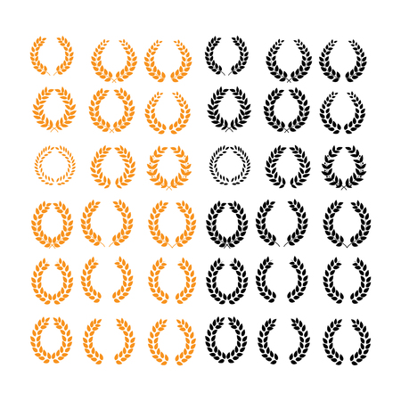 Wreath reward color set. Modern symbol of victory and award achievement champion. Leaf ceremony awarding of winner tournament. Colorful template for badge, tag. Design element. Vector illustration