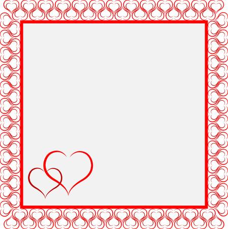 simple frame: Frame red of heart card. Illustration