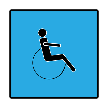 Disabled sign in blue square