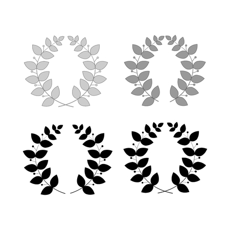 Wreath reward isolated set. Modern symbol of victory and award achievement champion. Leaf ceremony awarding of winner tournament. Monochrome template for badge, tag. Design element Vector illustration