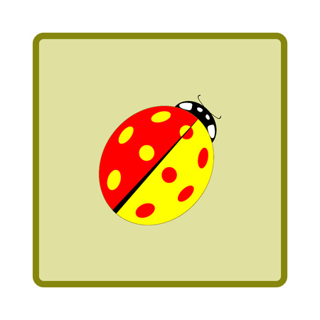 Ladybird Color Isolated. Illustration Ladybug In Green Frame ...