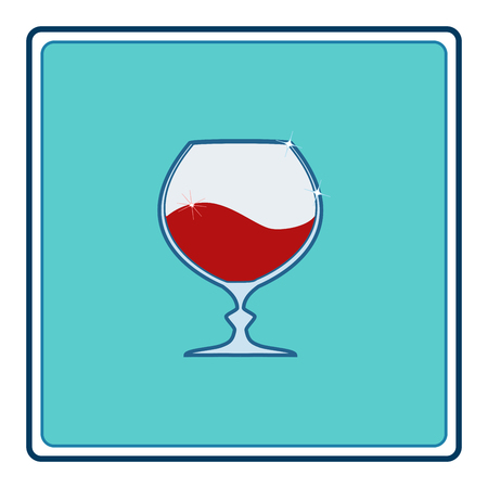 Red wine in goblet in blue square. Illustration wineglass for celebration and alcohol. Rounded shape tumbler. Glass for cognac, brandy,liquor, bordeaux. Design flat element. Vector illustration