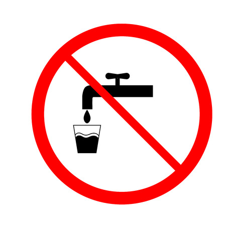 drinkable: No drinking water icon. Illustration silhouette black tap in red circle. Sign non drinkable on white background. Symbol non drinkable forbidden non beverage. Flat vector image. Vector illustration