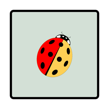 Ladybird isolated. Illustration ladybug in green frame. Cute colorful sign insect symbol spring, summer, garden. Template for t shirt, apparel, card, poster. Design element Vector illustration