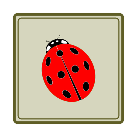 ladybird: Ladybird red icon. Illustration ladybug in olive square. Cute colorful sign insect symbol spring, summer, garden. Template for t shirt, apparel, card, poster. Design element. Vector illustration