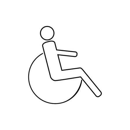 Disabled silhouette sign. Mark disability. Icon a place open passage. Symbol paralyzed and human on wheelchair. Safety person warning handicapped illustration. Design element. Vector illustration Illustration