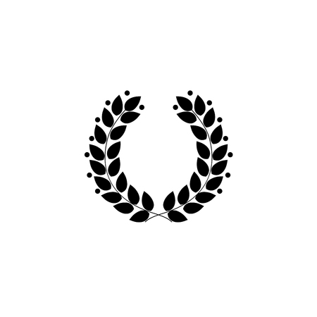 Laurel wreath black. Modern symbol of victory and award achievement champion. Leaf ceremony awarding of winner tournament. Monochrome template for badge, tag. Design element. Vector illustration Illustration