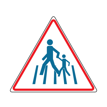 Crosswalk sign blue in red triangle. Icon a pedestrian place for child near school. Symbol safety traffic human on road. Label for banner about crossing way. Design element. Vector illustration