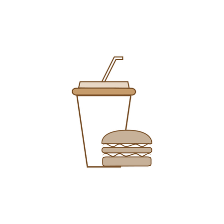 Fast food and drink icon. Silhouette hamburger and cup in black square. Sign meal on white background. Label quickly dinner. Symbol fast food for poster,banner. Design element. Vector illustration.