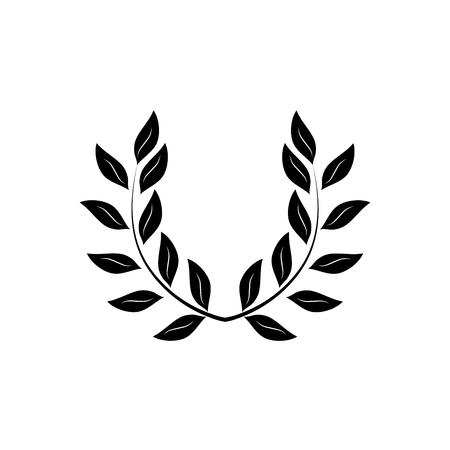 Laurel wreath black. Modern symbol of victory and award achievement champion. Leaf ceremony awarding of winner tournament. Monochrome template for badge, tag. Design element. Vector illustration Illustration