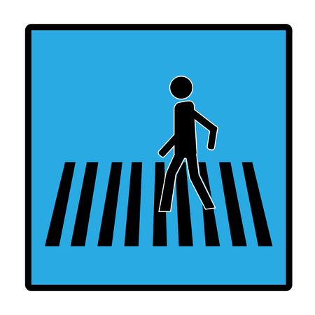 Crosswalk sign black in blue rectangle. Icon a pedestrian place for child near school. Symbol safety traffic human on road. Label for banner about crossing way. Design element. Vector illustration