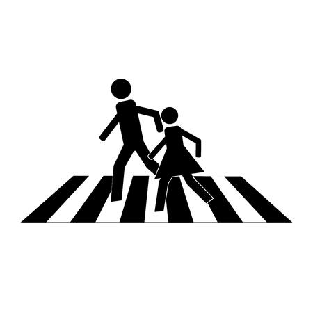 Zebrapadentekenzwarte op witte achtergrond. Pictogram een voetgangersgebied voor kind dichtbij school. Symbool veiligheid verkeer menselijk op weg. Label voor banner over kruisende manier. Ontwerpelement. Vector illustratie