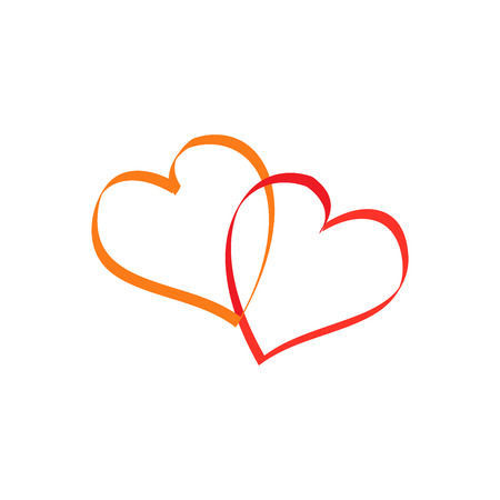 Heart two isolated. Romantic love isolated icon on white background. Colorful symbol of valentine day and love. Template for t shirt, apparel, card, poster. Design element. Vector illustration