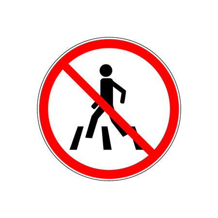 No crosswalk icon. Black silhouette man in red circle. Sign prohibited crossing street. Symbol restriction foot it traffic on road. Label for banner about danger. Design element. Vector illustration