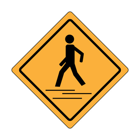 Safety trafig sign black in yellow square. Icon a pedestrian place for child near school. Symbol crosswalk human on road. Label for banner about crossing way. Design element. Vector illustration Çizim