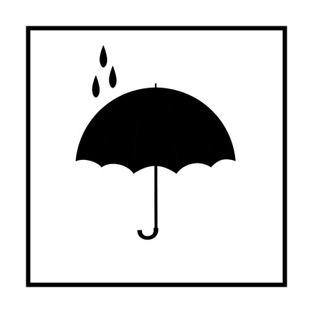 rainy season: Umbrella black on white square. Romantic icon health isolated. Fashion print for sports wear. Template for t, apparel, card, poster. Design element. Monochrome symbol of rain. Vector illustration Illustration