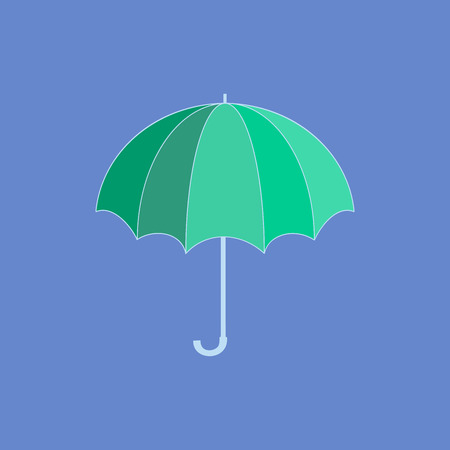 rainy season: Umbrella green on blue background. Romantic icon health isolated. Fashion print for sports wear. Template for t, apparel, card, poster. Design element. Colorful symbol of rain. Vector illustration Illustration