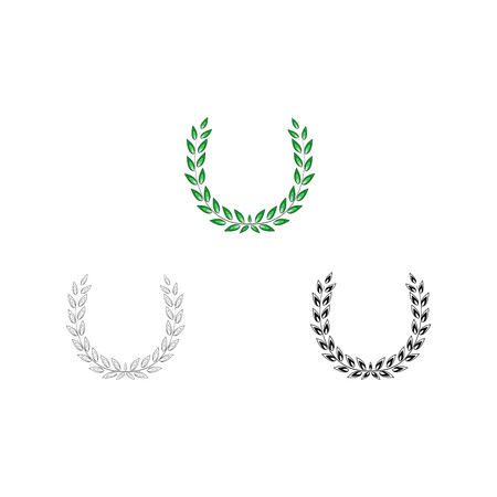 Wreath reward colorful set. Modern symbol of victory and award achievement champion. Leaf ceremony awarding of winner tournament. Colorful template for badge, tag. Design element. Vector illustration Illustration