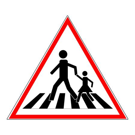 Signe de passage clouté noir dans le triangle rouge. Icône une place piétonne pour enfant près de l'école. Symbole de sécurité trafic humain sur route. Étiquette pour la bannière sur la façon de passage. Élément de conception. Illustration vectorielle