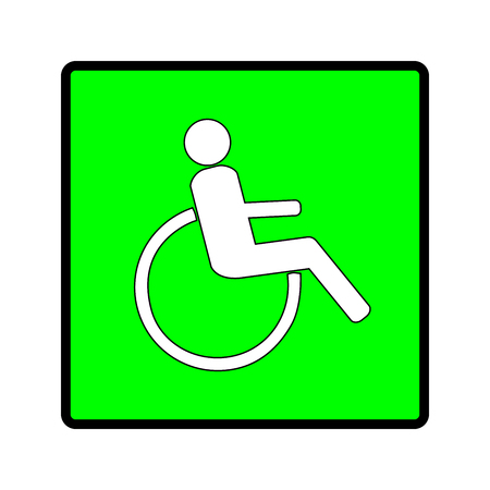 Disabled sign in green square. Mark disability. Icon a place open passage. Symbol paralyzed and human on wheelchair. Safety person warning handicapped illustration. Design element. Vector illustration