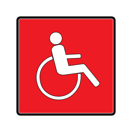 Disabled sign in red square. Mark disability. Icon a place open passage. Symbol paralyzed and human on wheelchair. Safety person warning handicapped illustration. Design element. Vector illustration Illustration
