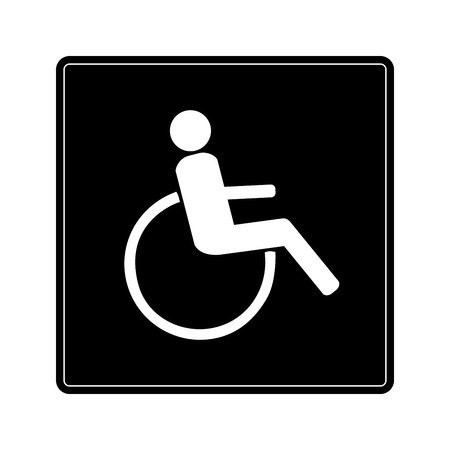 Disabled sign in black square. Mark disability. Icon a place open passage. Symbol paralyzed and human on wheelchair. Safety person warning handicapped illustration. Design element. Vector illustration
