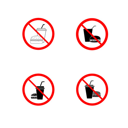 No fast food set sign in red circles Illustration