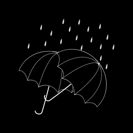 Umbrella two black on black background. Icon health isolated. Fashion print for sports wear. Template for t, apparel, card, poster. Design flat element. Monochrome symbol autumn. Vector illustration